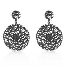Buy Black Brushed Vintage Lace Earrings