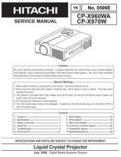 Buy Hitachi CPX960WA CPX670W NO 0506E Manual by download Mauritron #186024