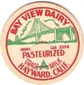 Buy CA Haywood Milk Bottle Cap Name/Subject: Bay View Dairy Grade A Milk Paste~465