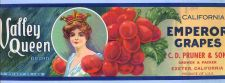 Buy CA Exeter Fruit Crate Label Valley Queen Brand California Emperor Grapes C~41