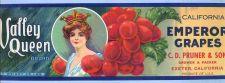 Buy CA Exeter Fruit Crate Label Valley Queen Brand California Emperor Grapes C~41