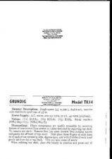 Buy Grundig TK14 A6272 Service Schematics by download #153930