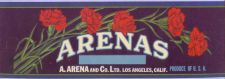 Buy CA Los Angeles Fruit Crate Label Arenas A. Arena and Company ~1