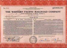 Buy CA na Stock Certificate Company: Western Pacific Railroad Company ~102