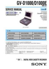 Buy SONY GV-D1000D1000E,, Service Manual by download #166904