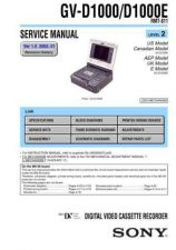 Buy SONY GV-D1000 Service Manual by download #166902