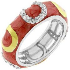 Buy Pink Enamel Horseshoe Ring (size: 10)