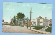Buy CT Meriden Library Square Street Scene w/Trolley Track Intersection w/Libr~520