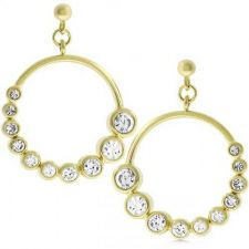 Buy Golden Graduated Cubic Zirconia Circle Earrings