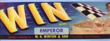 Buy CA Ivanhoe Fruit Crate Label Win Brand Emperor Grown & Shipped by W. D. Wi~42