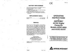 Buy Amprobe ACDC600AT User Instructions Operating Guide by download Mauritron #1941