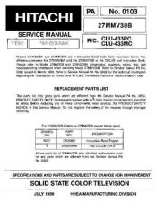 Buy HITACHI 27MMV30B USA Service Manual by download #163234