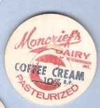 Buy CAN Ontario Peterborough Milk Bottle Cap Name/Subject: Moncrief's Dairy Co~540