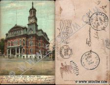 Buy CT Norwich Postcard City Hall & Court House Street Scene Intersection w/Ho~2390