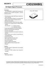 Buy INTEGRATED CIRCUIT DATA CXD2500J Manual by download Mauritron #186756