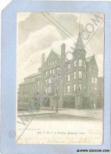 Buy CT Bridgeport Y M C A Building Street Scene Intersection w/Trolley Tracks ~320