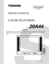 Buy TOSHIBA 20A44SUMREV1 Service Manual by download #167325