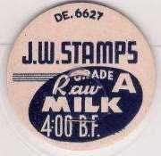 Buy GA Atlanta Milk Bottle Cap Name/Subject: J.W. Stamps Grade A Raw Milk~263