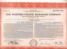 Buy CA na Stock Certificate Company: Western Pacific Railroad Company ~99