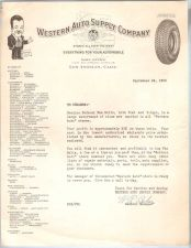 Buy CA Los Angeles Letterhead / Billhead Western Auto Supply Company 1100 So. ~48