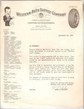 Buy CA Los Angeles Letterhead / Billhead Western Auto Supply Company 1100 So. ~48