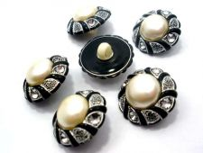Buy CRYSTAL VINTAGE PEARL SILVER BLACK PLASTIC BUTTONS FABRIC DRESS BLOUSE WOMEN LAD