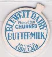 Buy CA Lodi Milk Bottle Cap Name/Subject: Blewett Dairy Churned Buttermilk~19
