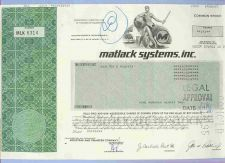 Buy DE na Stock Certificate Company: Matlack Systems, Inc. ~51