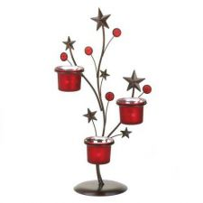 Buy Shimmering Red Stars Metal Candle Holder