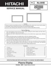 Buy HITACHI 42PD5000 USA Service Manual by download #163374
