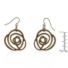 Buy Bronze Textured Filigree Floral Earrings