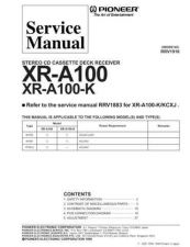 Buy PIONEER XR-A100 Service Manual by download Mauritron #193658