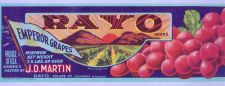 Buy CA Rayo Fruit Crate Label Rayo Brand Emperor Grapes J. D. Martin, Rayo Tul~26
