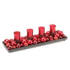 Buy Festive Red Candleholder With Glittering Ornaments