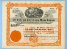 Buy CO na Stock Certificate Company: Bristol And Colorado Gold Mining Company ~93