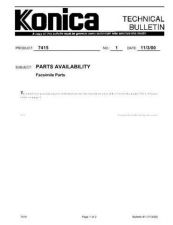 Buy Konica 01 PARTS AVAILABILITY FAX Service Schematics by download #135777
