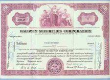 Buy DE na Stock Certificate Company: Baldwin Securities Corporation ~4