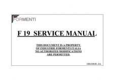 Buy FORMENTI F19 SERVICE MANUAL Manual by download Mauritron #185117