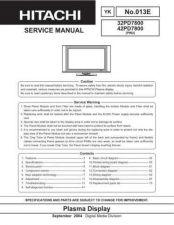 Buy HITACHI 42PD7800 USA Service Manual by download #163375