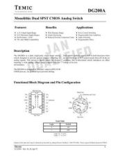 Buy INTEGRATED CIRCUIT DATA DG200J Manual by download Mauritron #186787