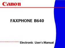 Buy CANON FAXPHONE B640 USER'S MANUAL by download #150145
