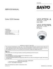 Buy Sanyo Service Manual For VCC-P7575PA Manual by download #176127