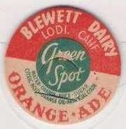 Buy CA Lodi Milk Bottle Cap Name/Subject: Blewett Dairy Green Spot Orange Ade~21