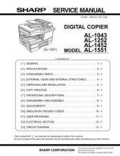 Buy Sharp AL1043-1252-1452-1551 SM GB Manual by download #178974