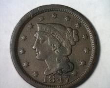 Buy 1847 LARGE CENT PENNY VERY FINE+ VF+ NICE ORIGINAL COIN FROM BOBS COIN FAST SHIP
