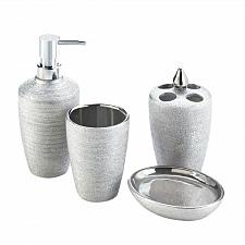 Buy *17710U - Silver Shimmer 4pc Porcelain Bath Accessory Set