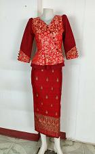 Buy Red Lao Laos 3/4 Sleeve Blouse Size 34 synthetic sinh skirt S For Laos New Year