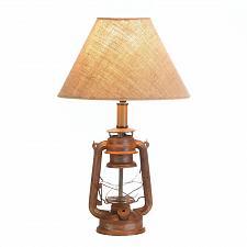Buy *17904U - Vintage Camping Lantern Iron Base Table Lamp w/Shade