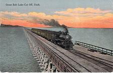 Buy The Great Salt Lake Cut Off, Utah Steam Engine and Train Vintage Postcard