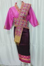 Buy Pink Lao Laos 3/4 Sleeve Blouse Suea pat size 14 Silk Blend Sinh Skirt Pha Bieng